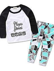 Boys Kids Going out Casual dress Geometric Sets Cotton Long Sleeve baby Clothing Set