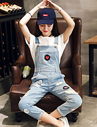 Sign Korean version of the patch badge blue denim overalls female trousers