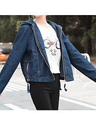 Sign Korean dark blue denim jacket female BF wind loose denim clothing fashion models