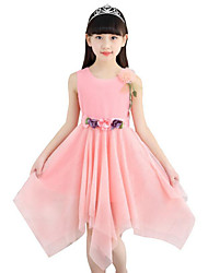 cheap -Girl's Daily Going out Holiday Solid Dress Summer Sleeveless Lace Bow White Blushing Pink Purple