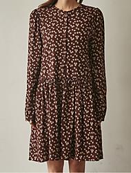 17 Spring new Korean version of the retro floral skirt loose dress shirt bottoming female