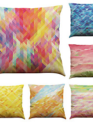 cheap -Set of 6 Color Geometry Pattern  Linen Pillowcase Sofa Home Decor Cushion Cover (18*18inch)