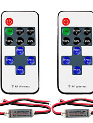 2pcs Mini LED Controller Dimmer with RF Wireless Remote Control DC 524V 12A