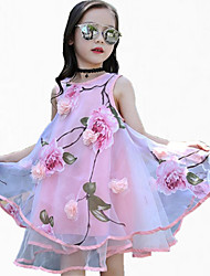 cheap -Girl's Sports Floral Print Dress,Polyester Spring Summer All Seasons Sleeveless Floral Blushing Pink Purple Yellow