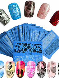 cheap -48pcs/set Hot Fashion Sweet Style Beautiful Lace Nail Water Transfer Decals Beautiful Flower Lace Nail Art DIY Beauty Beautiful Decals STZ-V01-48
