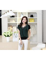 estate nuove donne della camicia di chiffon a maniche corte sottili perline v-collo corto maglietta donne grande macchia