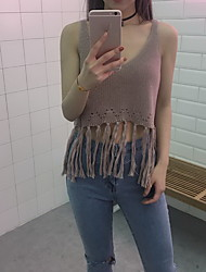 Sign Korean simple fashion wild hollow knit small tassel short paragraph camisole female