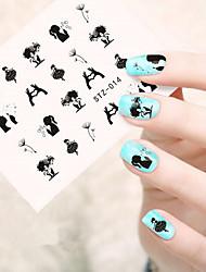10pcs/set Hot Sale Romantic Nail Art Water Transfer Decals Beautiful Dancing Girl Dandelion Lovely Design Nail DIY Beautiful Decals STZ-014