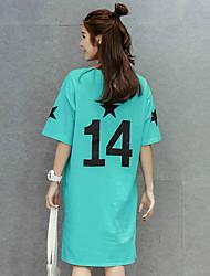 signe été 2017 nouvelle version coréenne de femmes de grande taille en vrac à manches courtes T-shirt décontracté jupe robe à manches
