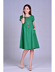 cheap -Women's Loose Loose Dress - Solid Colored Pure Color High Waist