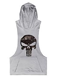 cheap -Men's Sports Beach Casual Active Punk & Gothic Cotton Tank Top Print Hooded