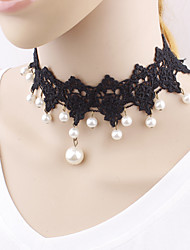Women's Choker Necklaces Imitation Pearl Pearl Imitation Pearl Lace Unique Design Fashion Jewelry For Wedding Party Special Occasion
