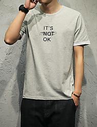 Rundhals Kurzarm Druck Buchstaben buchstabieren Farbe Mann Baumwolle 95% Spandex 5% japanisches Modell