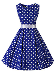 cheap -Women's Rockabilly Vintage Dress Blue White Polka Dot Round Neck Knee-length Sleeveless Cotton All Seasons Mid Rise