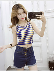 Sign new wild sexy without cuff head bottoming shirt striped short paragraph knit camisole female summer