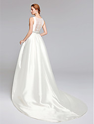A-Line Bateau Neck Sweep / Brush Train Lace Satin Wedding Dress with Beading Lace Sash / Ribbon by LAN TING BRIDE®