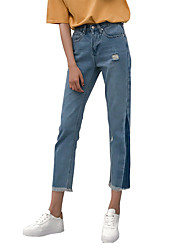 Sign 2017 spring jeans triangular side spell color designer jeans trousers