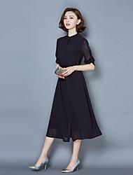 cheap -Women's Casual Chiffon Dress - Solid Colored