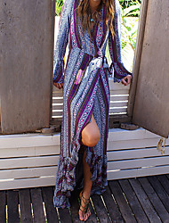 Women's Going out Casual/Daily Beach Sexy Vintage Boho Sheath Dress,Print V Neck Maxi Long Sleeve Polyester Summer Mid Rise Micro-elastic