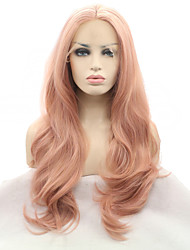 cheap -Synthetic Lace Front Wig Natural Wave Middle Part Heat Resistant Natural Hairline Rose Pink Women's Lace Front Long Synthetic Hair