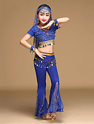 Belly Dance Outfits Kid's Performance Chiffon Gold Coins / Sequins Short Sleeve 5 Pieces Top / Pants / Hip Scarf / Headwear / Veil