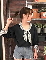Damen Mehrfarbig Niedlich Alltagskleidung Verabredung Urlaub Strasse Bluse,Rundhalsausschnitt Frühling Langarm N / A Mittel