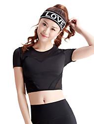 Women's Running T-Shirt Short Sleeves Quick Dry Breathable Comfortable Top for Exercise & Fitness Running Polyester Elastane Mesh/Net Slim