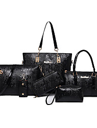 Women Bags All Seasons PU Bag Set 6 Pcs Purse Set for Casual Office & Career Blue Black Coffee Wine Amethyst