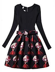 cheap -Girl's Print Dress,Polyester Spring Fall Long Sleeve Floral Black