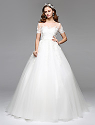 A-Line Illusion Neckline Floor Length Lace Tulle Wedding Dress with Lace by LAN TING BRIDE®