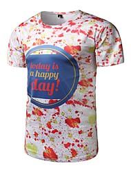 Masculino Camiseta Casual Activo Todas as Estações,Letra Poliéster Decote Redondo Manga Curta Média