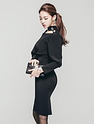 Femme Foulard 2017 nouvelles s printemps&# 39; mode sexy lanterne creux fendit hanche paquet mince robe à manches longues