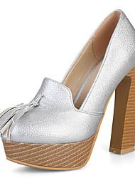 Da donna Tacchi Club Shoes Finta pelle Primavera Estate Serata e festa Formale Club Shoes Nappa Quadrato Oro Argento Rosso 10 - 12 cm