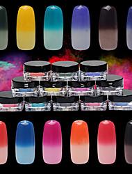 Недорогие -1шт ногтей порошок Температура классический 12 цвет градиент порошок