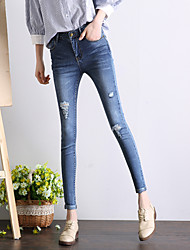 Sign 2017 spring new female feet high waist knee hole jeans pants large size pantyhose