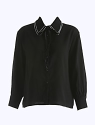 cheap -Women's Going out Sexy Spring Blouse,Solid Shirt Collar Long Sleeves Cotton Thin