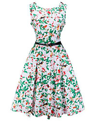 ebay AliExpress Hepburn style retro explosion models was thin waist put on a large print dress with belt