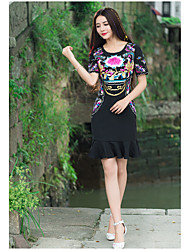 Sign 2017 summer new national wind Heavy embroidery full dress skirt embroidered short-sleeved dress