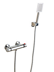 cheap -Contemporary Shower Only Thermostatic Ceramic Valve Two Holes Two Handles Two Holes Chrome, Shower Faucet
