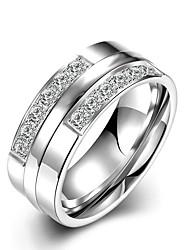 billige -Dame Båndringe Krystal minimalistisk stil Brude Mode Titanium Stål Rund Smykker Julegaver Bryllup Fest Speciel Lejlighed Jubilæum