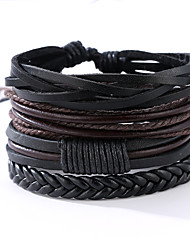 cheap -Men's Leather Bracelet Vintage Punk Leather Round Jewelry Anniversary Gift Sports Valentine Costume Jewelry Black