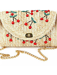 cheap -Women Bags Straw Crossbody Bag Rivet for Wedding Event/Party Casual Formal Outdoor Office & Career All Seasons Red Yellow