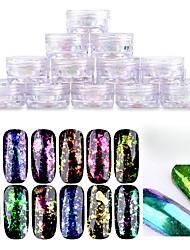 1 pc nail art ho trasparente il camaleonte allo specchio i fuochi d'artificio di colore il colore specchio magico in polvere 12