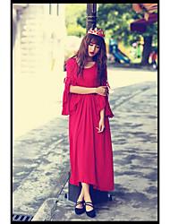 la nouvelle pièce robe manches trompette plissée belle taille rétro robe jupe mince