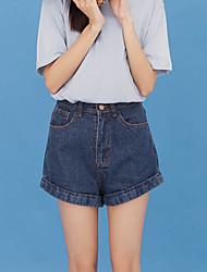 Sign Korean high waist denim shorts female Korean version was thin curling wide leg jeans shorts