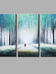 Peint à la main Abstrait Horizontale,Moderne Trois Panneaux Toile Peinture à l'huile Hang-peint For Décoration d'intérieur