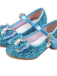 cheap -Girls' Heels Basic Pump PU Spring Fall Dress Basic Pump Crystal Bowknot Low Heel Silver Blue 1in-1 3/4in