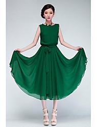 cheap -Women's Green/Black Chiffon Dress, Short Sleeve With Belt