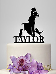 cheap -Cake Topper Garden Theme / Classic Theme / Rustic Theme Classic Couple Acrylic Wedding / Anniversary / Bridal Shower with OPP