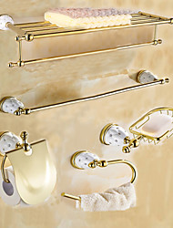 cheap -Bathroom Accessory Set Contemporary Brass 5pcs - Hotel bath tower ring soap dish tower bar Toilet Paper Holders